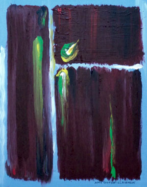 """Marsala Triad 2"" 11x14'' acrylic painting on canvas by Texas artist Amy Dufort Clairmont."